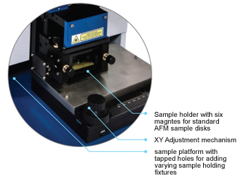 Atomic force microscope stage for wide variety of sample sizes and shapes