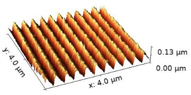 3D Atomic Force Microscope Image ruled grating, color scale AFM