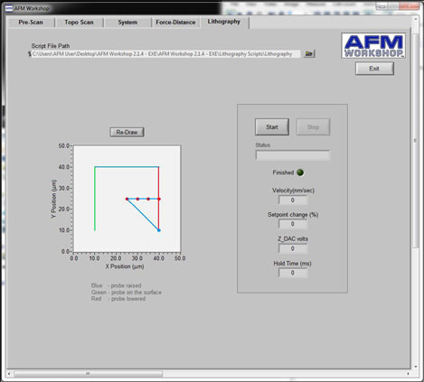 NanoLithography AFM Software Interface